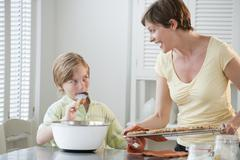 Mother and chilld baking - stock photo