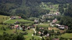 Panoramic shot of village Stock Footage