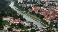Panoramic shot of Celje Stock Footage