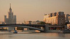 Kosmodamianskaya embankment walk hyperlapse - stock footage