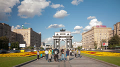 Triumphal Arch square hyperlapse Stock Footage
