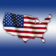 American flag in shape of United States Stock Illustration