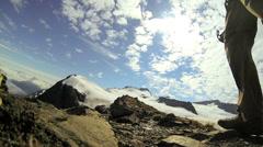 Mountaineer preparing for ridge trek, Alaska, USA - stock footage