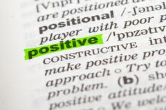 Stock Photo of word positive in dictionary