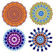 Vintage set blue with red mosaic petal flower - stock illustration