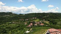 Panoramic willage near Gorizia with a lot of vineyards Stock Footage