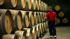 The man checking the barrels in the wine cellar Stock Footage