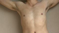 Man Shirtless Gestures Close Up Stock Footage