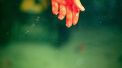 horror blood hand glass - stock footage