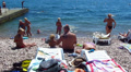 Beach on the sea with people. Editorial HD Footage