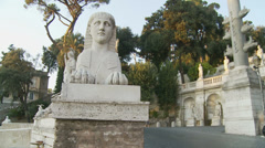 Statues at Piazza del Popolo, Rome 5 (slomo dolly) Stock Footage