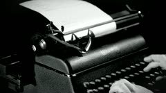 Writing on typewriterb in grey scale Stock Footage