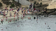 La Jolla Cove Beach California swimmers HD 9471 Stock Footage