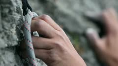 Close up of a hand rock climbing in nature Stock Footage