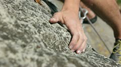 Details of a rock climbing in nature Stock Footage