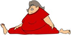 Chubby woman doing the splits - stock illustration