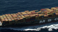 Cargo, container ship at sea - stock footage