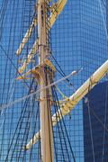 Stock Photo of Peking mast in front of high-rise building at South Street seaport