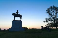 Statue of major general Oliver Howard on east cemetery hill Stock Photos
