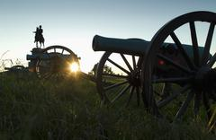 Sunset at Gettysburg national military park - stock photo