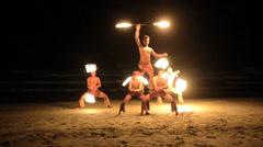 Fire dancer on a beach Stock Footage