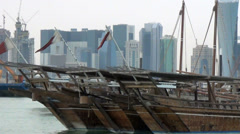 Qatar traditional boats at Doha Stock Footage