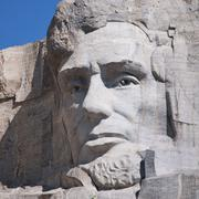 Head of Lincoln on Mount Rushmore - stock photo