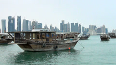 Qatar old traditional boats at Doha Stock Footage