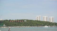 Water sport at the beach coast against clear blue sky, Pattaya beach Thailand Stock Footage