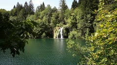 Small waterfall in the national park Plitvice-Croatia Stock Footage