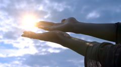 Hands to Heaven Light, Power of Hope HD Stock Footage