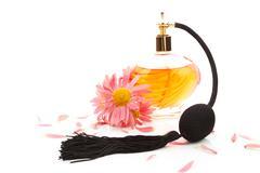 Femininity. perfume and flower blossom isolated. Stock Photos