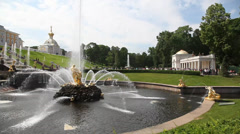 Peterhof Gardens and Fountains Stock Footage