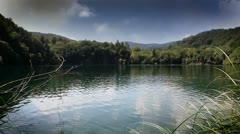 Beautifull landscape in Plitvice national park with added cloud time laps - stock footage