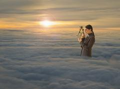 Women above clouds looking through sextant - stock illustration