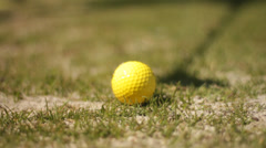 Golf ball adressed by club Stock Footage