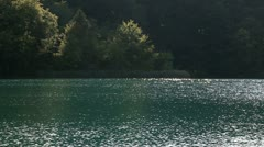 beautiful landscape in Plitvice national park from boat - stock footage