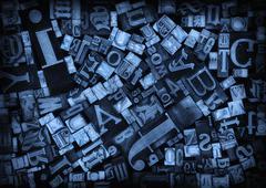 Stock Photo of Close up of various printing blocks
