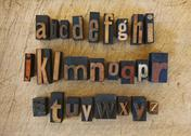 Stock Photo of Close up of alphabet on letterpress