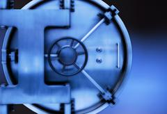 Stock Photo of Close up of safety deposit box