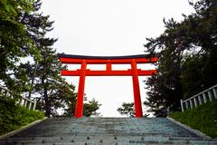 red torii in hakodate japan - stock photo