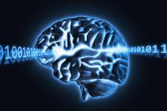 Brain radiating light and numbers, studio shot Stock Illustration