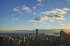 USA, New York, New York City, Kaupunkikuva auringonnousun Kuvituskuvat