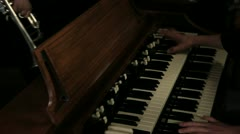 Close up pan shot of a piano player - stock footage