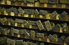 Stock Photo of Close up of printing blocks from antique book binding