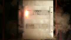 Close shot of a failure in electric fuse closet Stock Footage