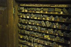 Close up of printing blocks from antique book binding - stock photo