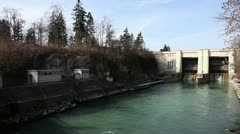 Panoramic shot of hydro electric power station Stock Footage