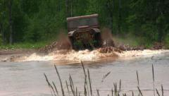 Jeep with Big Horsepower in Water - stock footage