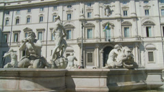 Fontana del Moro in Piazza Navona, Rome 10 (slomo dolly) Stock Footage